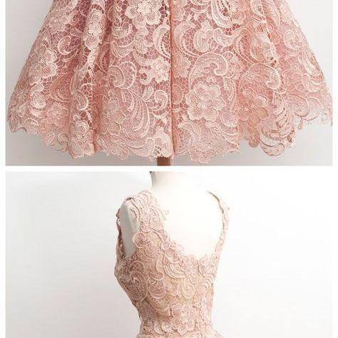No Pink Homecoming Dresses Sheer Back Sleeveless Lace V-Neck Scoop Tea-length Homecoming Dress