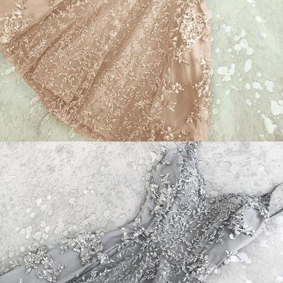 A lines Champagne Homecoming Dresses Appliques Sleeveless Tulle Round Neck Short Homecoming Dress
