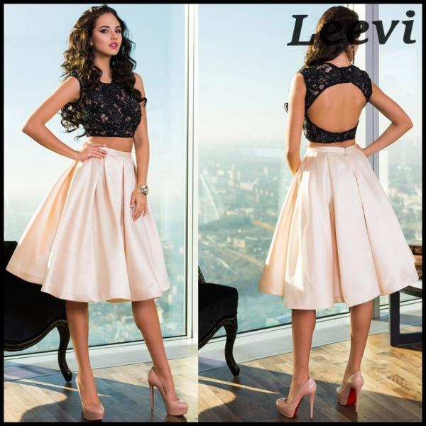 A-Line/Column Black Homecoming Dresses Lace-Up Sleeveless Lace Scoop Knee-length Homecoming Dress