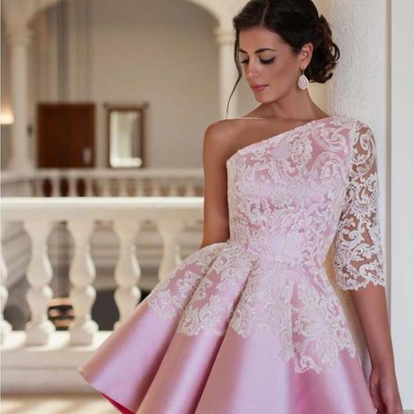 A-Line/Column Pink Homecoming Dresses Side-Zipper One Sleeve Lace One shoulder Mini Homecoming Dress