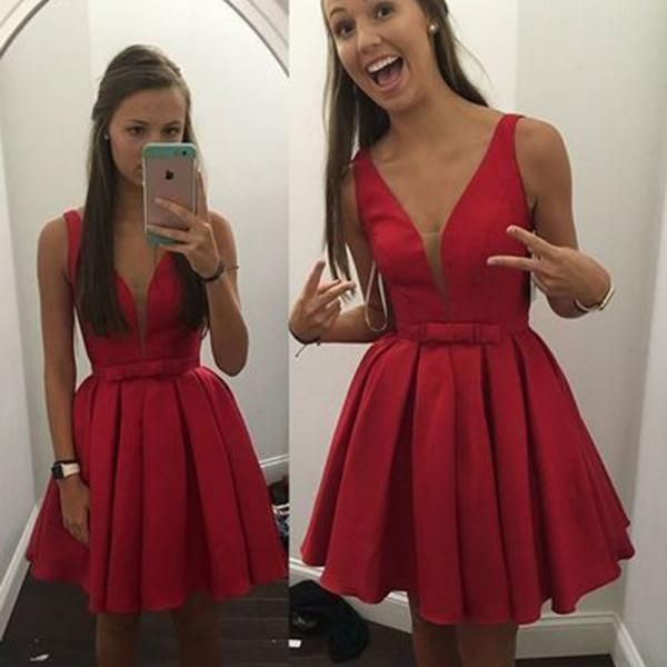 A Line Red Homecoming Dresses Zippers Sleeveless Bows V-Neck Scoop Mini Homecoming Dress
