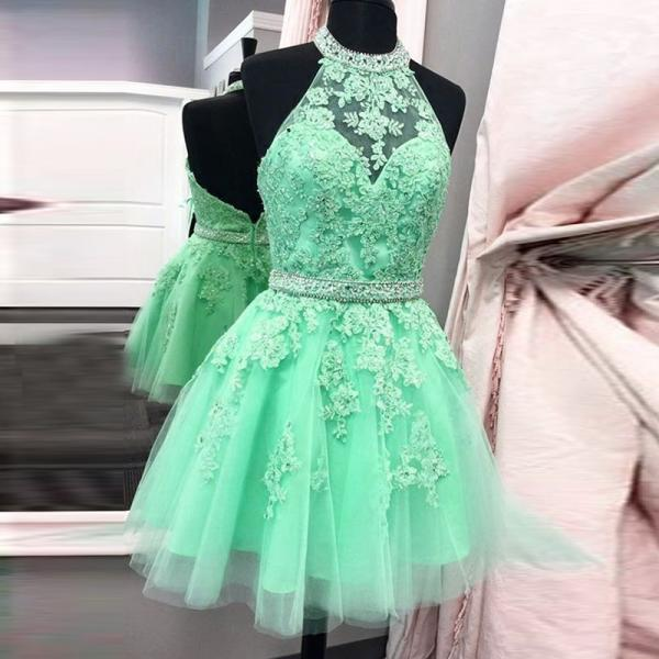 A lines Mint Homecoming Dresses Zipper-Up Sleeveless Beaded Haltered Above Knee Homecoming Dress
