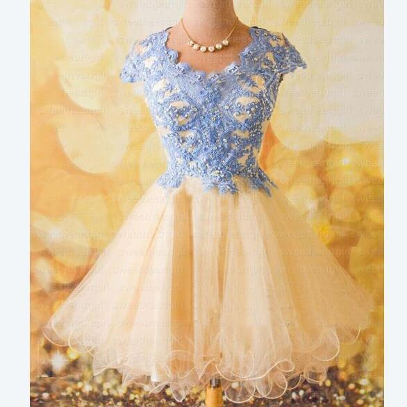 homecoming dress, short homecoming dress, lace homecoming dress, cheap homecoming prom dress, prom dress for girls, cap sleeve prom dress, BD14915 on Storenvy