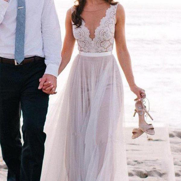 Elegant Wedding Dress,Beach Wedding Dress,Coast Wedding Dresses,Lace Bridal Gowns,A Line Tulle Weddi on Luulla