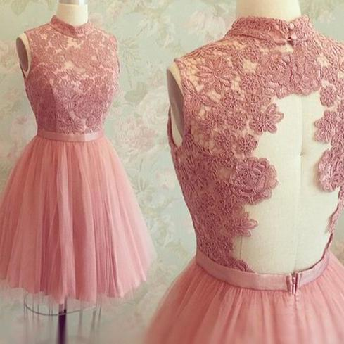 High Neck Lace Bodice Homecoming Dresses,A line Open Back Short Prom Dresses,HD027 on Storenvy