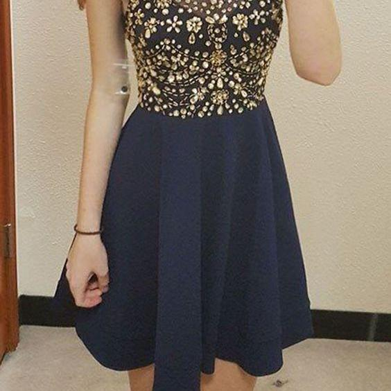 Short Prom Dresses,Navy Blue Homecoming Dress,A-line Prom Dresses,Beaded Homecoming Dresses,Halter H on Luulla
