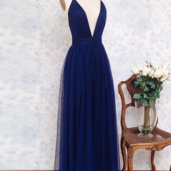 Charming Prom Dress,Deep V Neck Sleeveless Tulle Prom Dresses,Simple Evening Dress on Storenvy