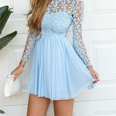 Homecoming Dress ,Short Homecoming Dresses,Blue Homecoming Gowns,Sweet 16 Dress,Homecoming Dresses,2 on Luulla