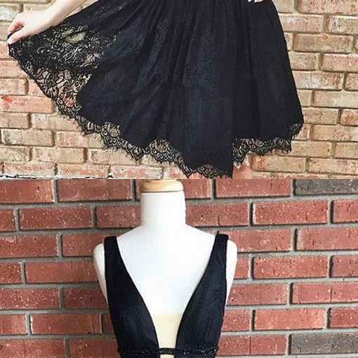 Cute Black Lace Homecoming Dress,Short V Neck Party Dresses,Short Prom Dresses,A Line Homecoming Dre on Luulla