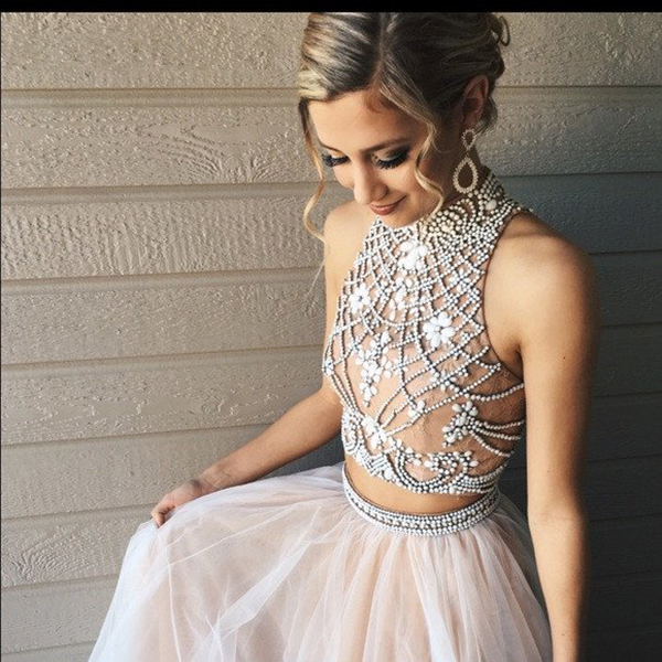 Two Piece Prom Dresses,A Line Tulle Prom Dress With Beads,Fashion High Neck Prom Dress on Luulla