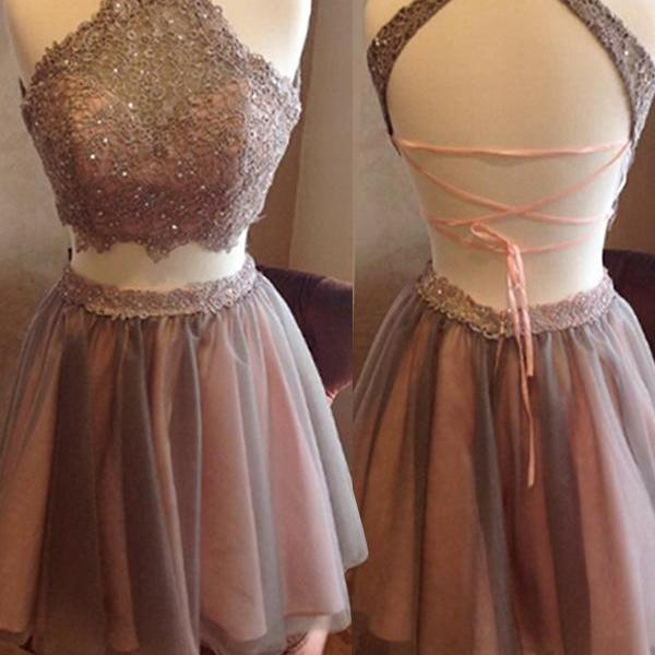 Short Homecoming Dress,Two Pieces Homecoming Dress,Open Back Homecoming Dress, High Neck Homecoming on Luulla