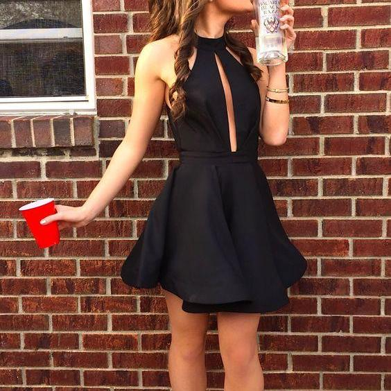High Fashion A-Line High Neck Black Satin Short Homecoming Dress on Luulla