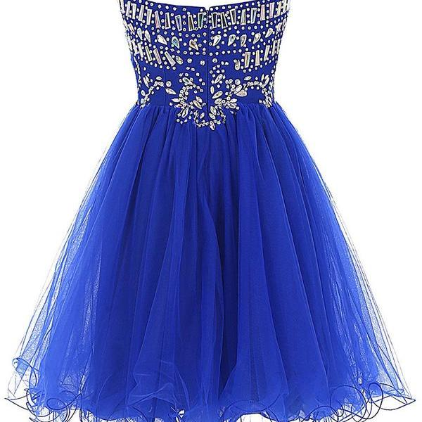Simple Sweetheart Sleeveless Short Royal Blue Homecoming Dress with Rhinestones