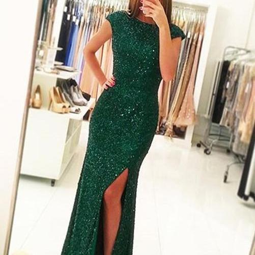 Sexy Side Slit Prom Gowns,Cap Sleeves Green Sequins Open Back Mermaid Evening Gowns