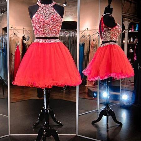 A-line Scoop Neck Organza Tulle Short/Mini Beading Homecoming Dresses