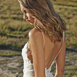 Sexy Open Backs Lace White Wedding Gown,Boho Beach Wedding Dresses