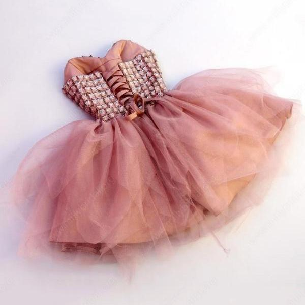 A-line Sweetheart Tulle Short/Mini Beading Lace-up Cute Homecoming Dresses