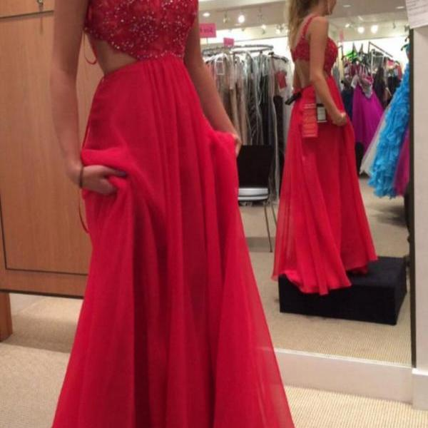 Spaghetti Strap Red Prom Gown,Chiffon Backless Formal Gown,Beadind Prom Dress