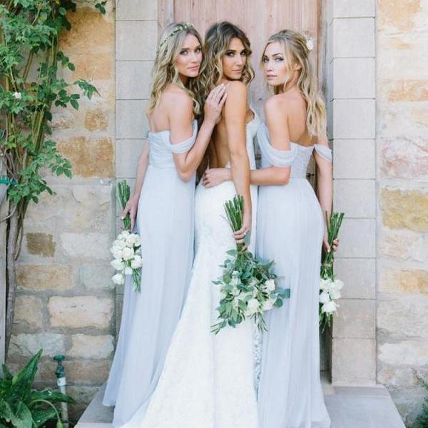 Chiffon Light Blue Sexy A Line Floor-Length Cheap Bridesmaid Dresses