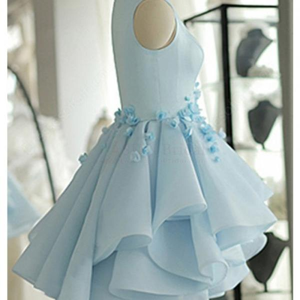 Sky Blue Layers Applique Short Homecoming Dresses Party Dresses Prom Dresses Cocktail Dresses Graduation Dresses