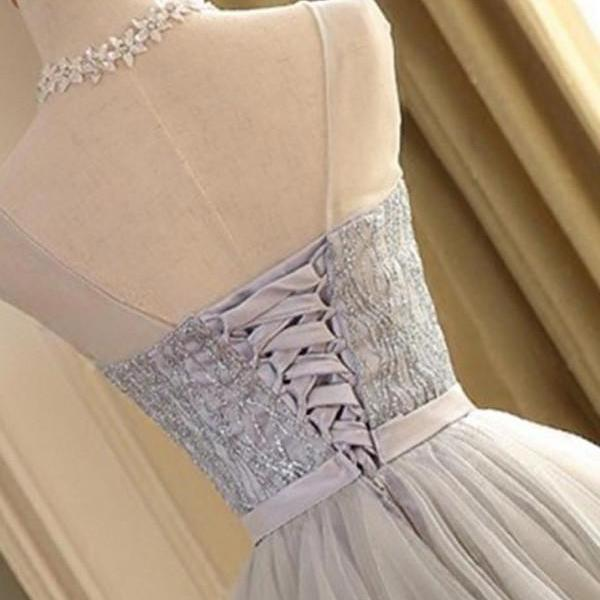 A-line Scoop Gray Tulle Sleeveless Short Prom Dresses with Lace,Homecoming Dress