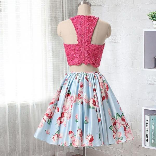 Two Piece Round Neck Short Blue Floral Homecoming Dress with Beading Lace