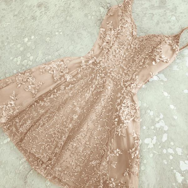 Glamorous A-Line Spaghetti Straps Champagne Short Homecoming Dress with Beading on Storenvy