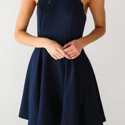 Simple A-Line Scoop Sleeveless Dark Blue Satin Short Homecoming Dress With Pleats on Luulla
