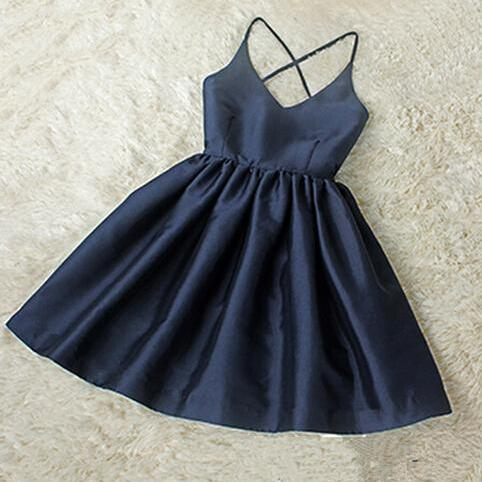 Spaghetti Strap Homecoming Dresses V-Neck Scoop Homecoming Dresses Navy Homecoming Dresses