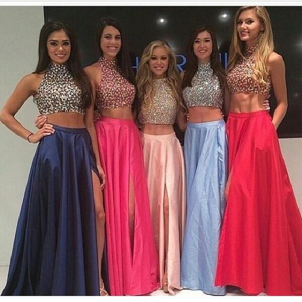split Prom Dresses Sleeveless Homecoming Dresses Beaded Prom Dresses