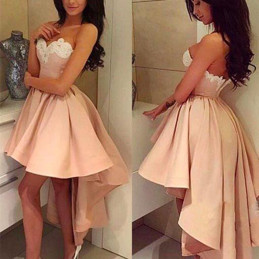 Sweetheart Neckline Prom Dresses Sheer Back Party Dresses Pink Homecoming Dresses
