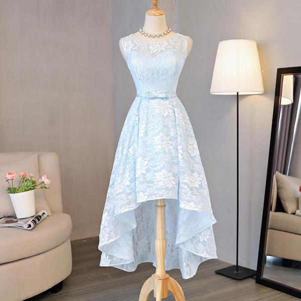 A lines Homecoming Dresses Scoop Cocktail Dresses Light Sky Blue Prom Dresses High-Low Homecoming Dresses