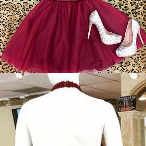 Haltered Homecoming Dresses Fuchsia Homecoming Dresses A Line Homecoming Dresses Above-Knee Homecoming Dresses