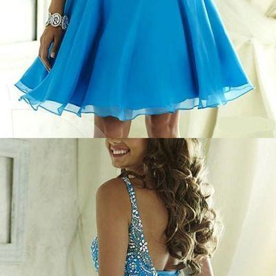Crystal Beads Ruffle Prom Dresses Square Neckline Homecoming Dresses