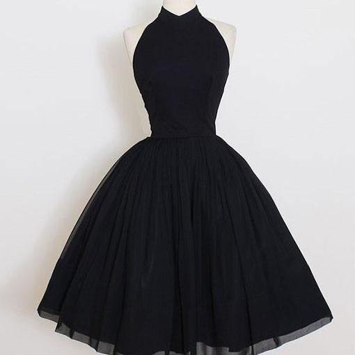 A Line Party Dresses Haltered Party Dresses Black Prom Dresses