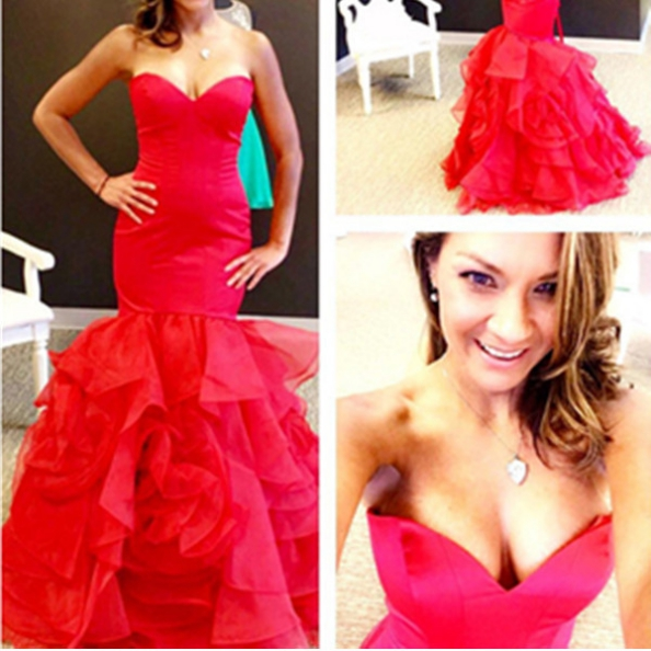 Red Sweetheart Tiers Mermaid Organza Prom Dresses 2017