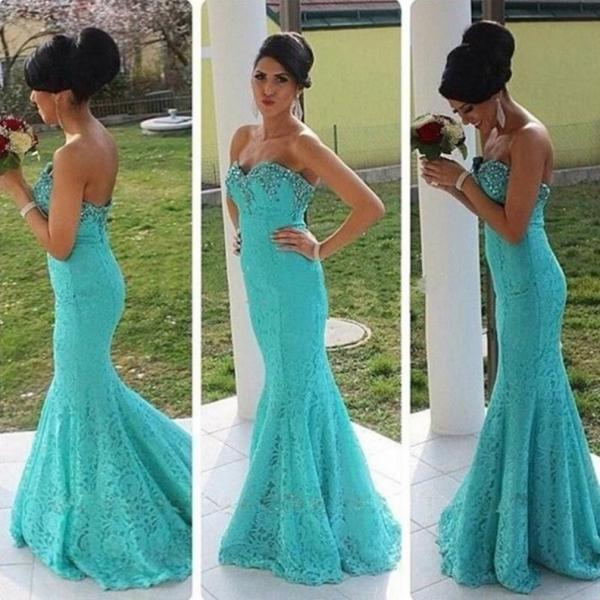 Beading Sweetheart Mermaid Lace Prom Dresses 2017