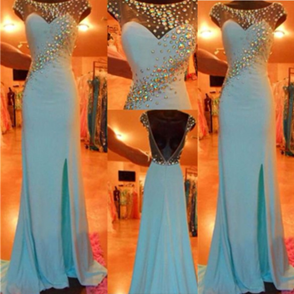 Blue Long Bateau Trumpet/Mermaid Chiffon Prom Dresses 2017