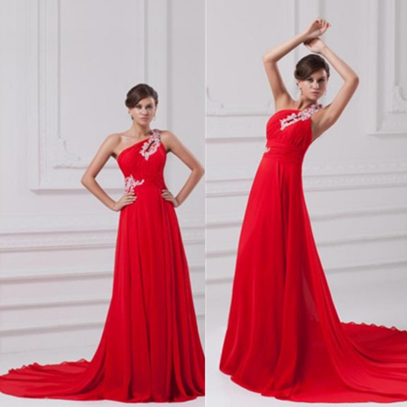 Red Prom Dresses 2017 A-Line One Shoulder Sleeveless Court Train Chiffon Appliques