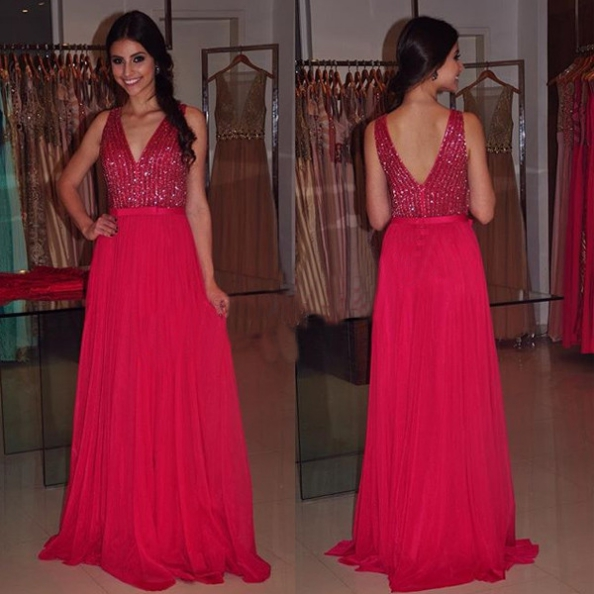 Red V Neck Beading Open Back A-line Chiffon Prom Dresses 2017