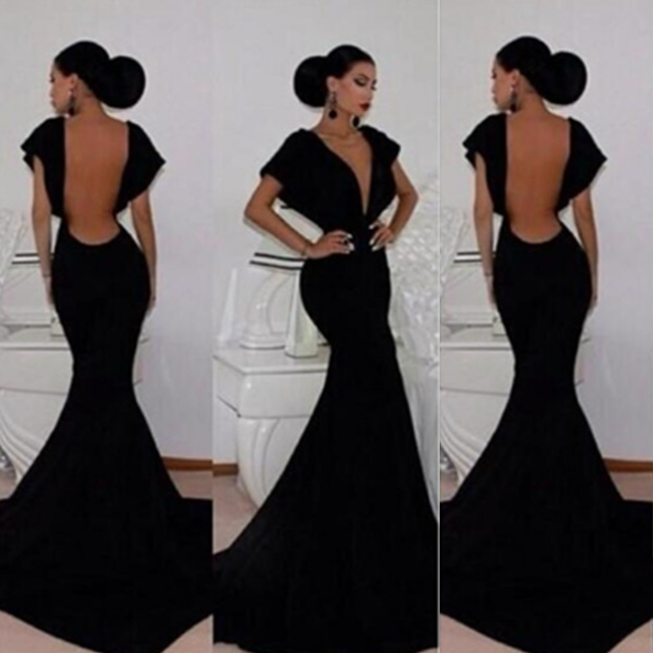 Black Prom Dresses 2017 Trumpet/Mermaid V-Neck Backless Taffeta