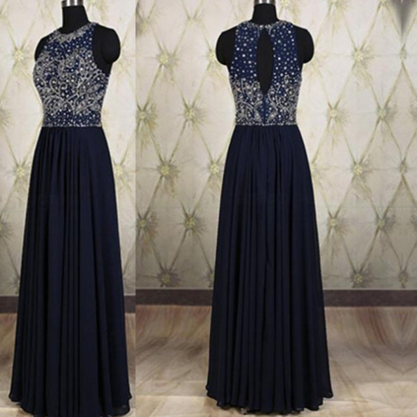 Blue Long A-line Jewel Beading Chiffon Prom Dresses 2017
