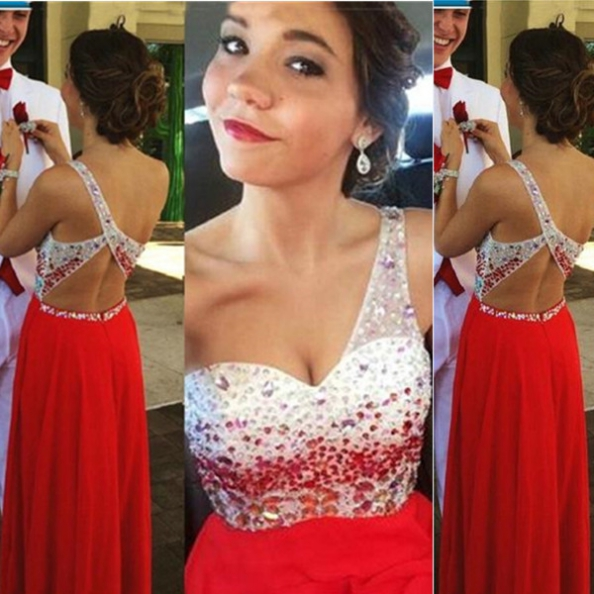 Red Long A-Line One Shoulder Beading Chiffon Prom Dresses 2017