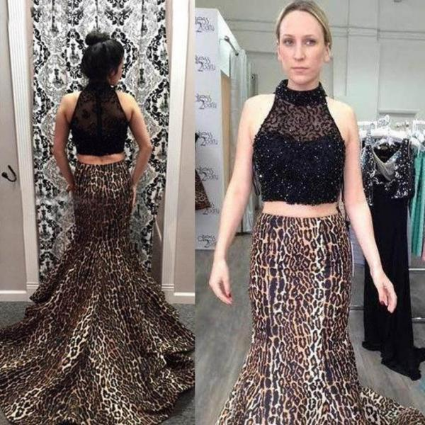 Leopard High Neck Mermaid Satin Two Pieces Prom Dresses 2017
