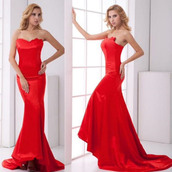 Red Prom Dresses 2017 Trumpet/Mermaid Sweetheart Sleeveless Satin