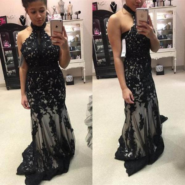 Black Long Trumpet/Mermaid High Neck Lace Prom Dresses 2017