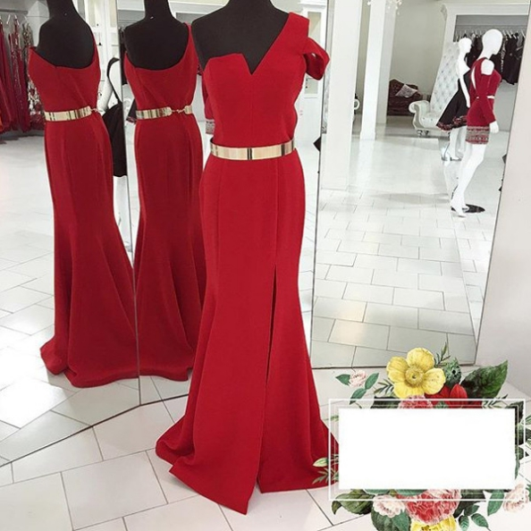 Red One Shoulder Mermaid Satin Prom Dresses 2017