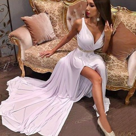 White Sexy Beading A-line Stretch Satin Prom Dresses 2017