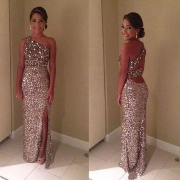 Beading One Shoulder Sheath Sequined Prom Dresses 2017