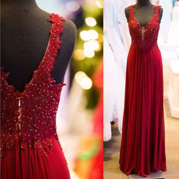 Red Beading Appliques Straps Prom Dresses 2017